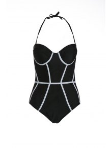 Halter Black And White One-Piece Swimwear - Black