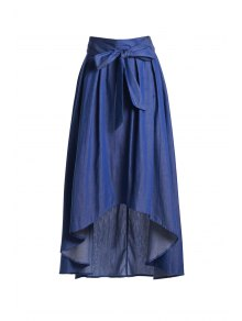 High-Waisted Bowknot High Low Skirt - Blue 2xl