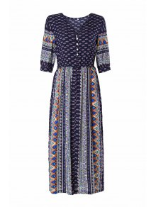 Half Sleeve High Slit Tribal Pattern Midi Dress - Purplish Blue L