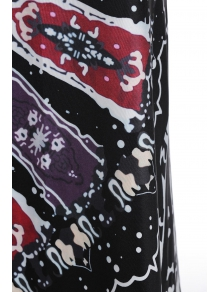 Packet Buttocks Printed Long Skirt - BLACK S