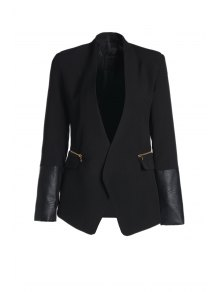 Shawl Collar Faux Leather Splicing Blazer - Black