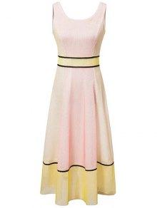 Color Block U Neck Sleeveless Maxi Dress - L