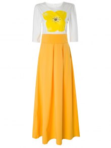 Yellow Floral Short Sleeve Maxi Dress