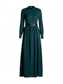 Solid Color Single-Breasted Long Sleeve Dress