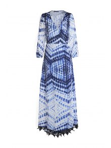 Dot And Line Print V Neck 3/4 Sleeve Maxi Dress - Blue And White S