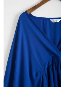 Solid Color Lacework Spliced Cape Plunging Neck Cover Up - DEEP BLUE S