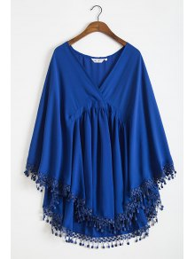 Solid Color Lacework Spliced Cape Plunging Neck Cover Up - Deep Blue