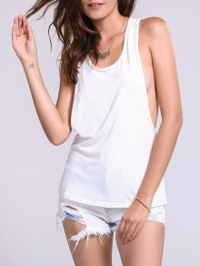 Dropped Armhole Tank Top - White