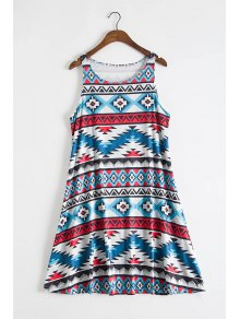 Sleeveless Printed Flare Dress - S