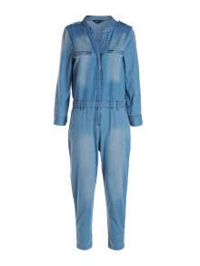Blue Denim V Neck Long Sleeve Jumpsuit