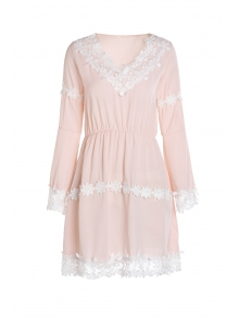 Lace Hem Chiffon Dress