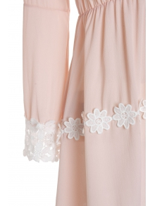 Lace Hem Chiffon Dress - PINK S