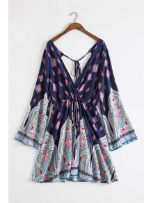 Plunging Neck Vintage Print Dress - Deep Blue M