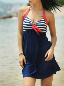 Halter Convertible Sailor Retro Swimdress Bathing Suit - Blue And Red Xl