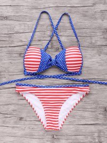 American Flag Patriotic Bikini Bathing Suit - Red And White And Blue S