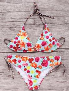 Printed Mid Waisted Halter Bikini Set