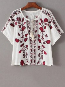 Embroidered Ethnic T-Shirt - White L