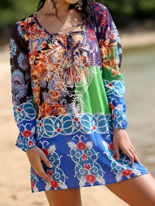 Deep V Neck Chiffon Printed Dress - Xl