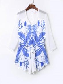 Floral Print Drawstring Design Playsuit - White