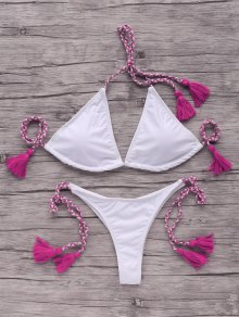 Tassells Braided Strap Bikini Set