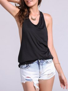 Dropped Armhole Tank Top - Negro