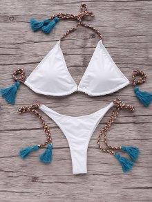 Tassells Braided Strap Bikini Set - Blue