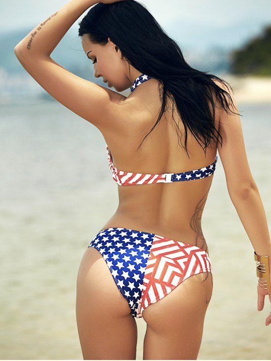 Halter Flag Print Bikini - COLORMIX M Mobile
