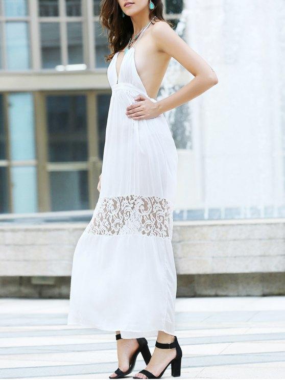 Sin espalda de encaje Empalme Calado Vestido largo - Blanco M