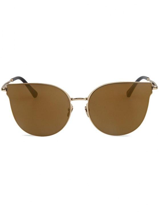 Street Fashion Golden-Rim Cat Eye Sunglasses - LIGHT COFFEE  Mobile