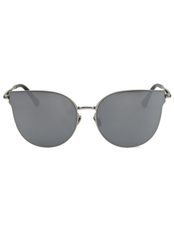 Street Fashion Silver-Rim Cat Eye Sunglasses - SILVER GRAY  Mobile