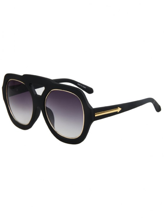 unique Arrow Double Rim Matte Black Sunglasses - BLACK