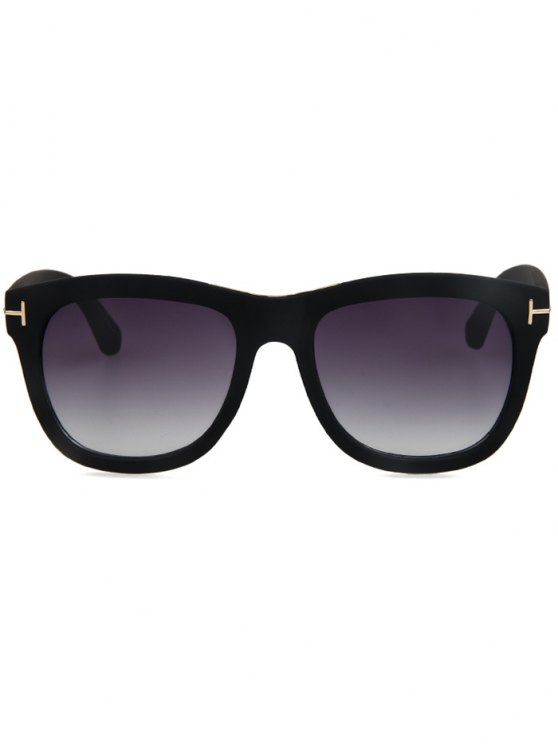 Letter T Matte Black Square Sunglasses - BLACK  Mobile