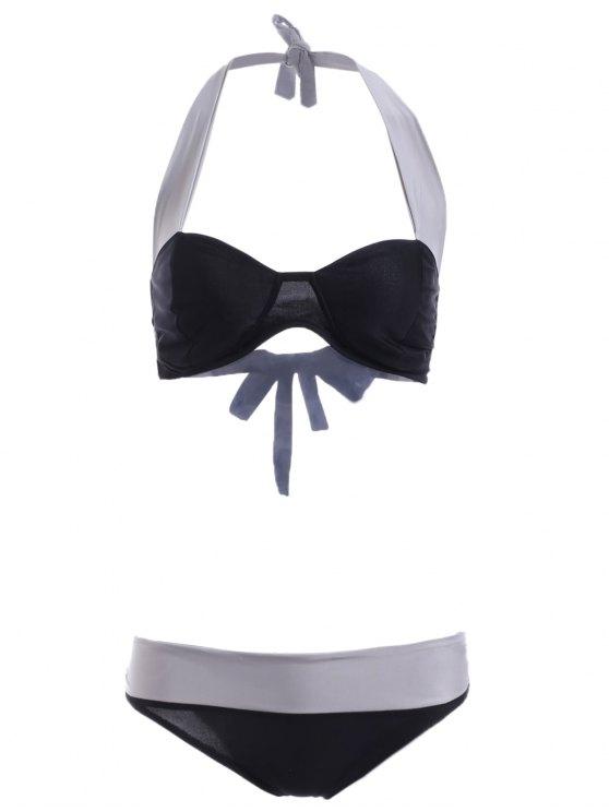 latest Gathered Hit Color Halter Bikini Set - BLACK L