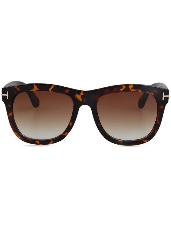 Letter T Square Leopard Sunglasses - BROWN  Mobile