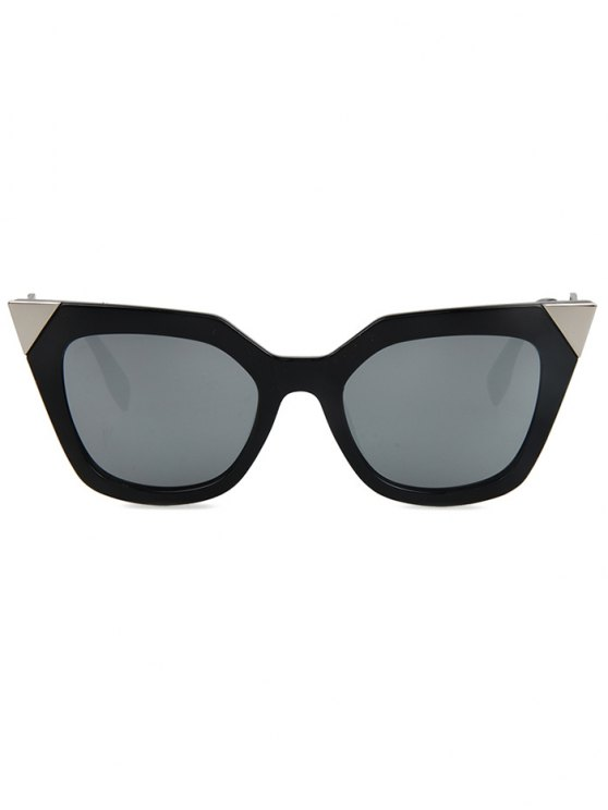 High Pointed Black Cat Eye Sunglasses - SILVER  Mobile