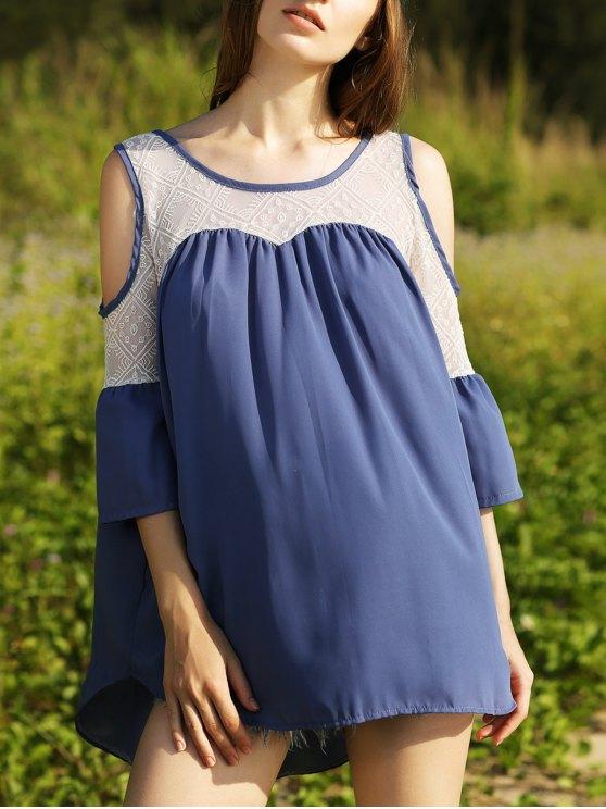 Top hombros combinado cordón del recorte - Azul M