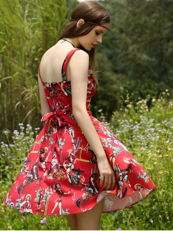 unique Printed Vintage Spaghetti Straps Ball Gown Dress - RED L