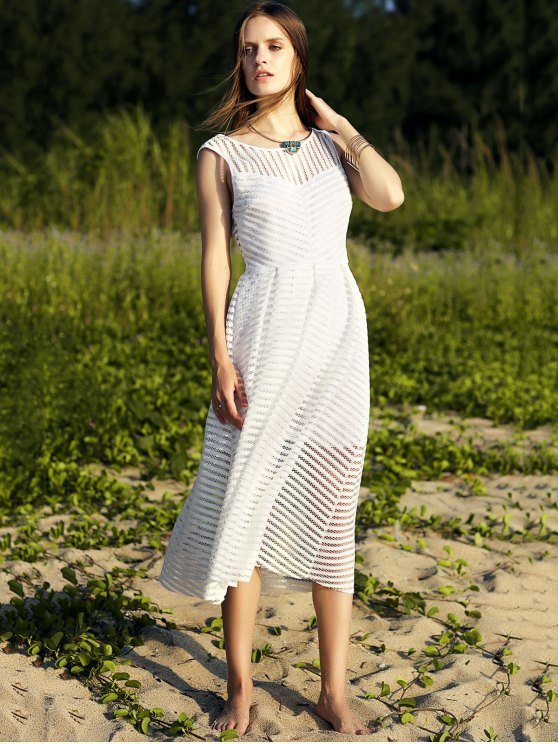 Backless Solid Color Round Neck Sleevelesss Dress - WHITE M Mobile