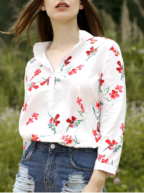 Stand Floral Neck Half Sleeve Shirt - Blanc L