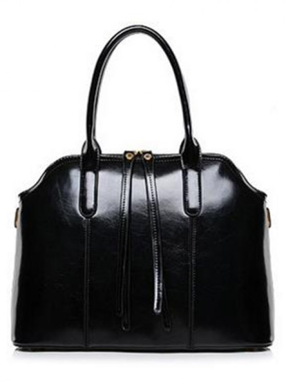 Zips Solid Color PU Leather Tote Bag - BLACK  Mobile