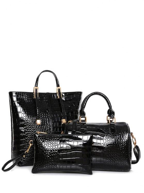 buy Crocodile Print Metal Buckles Tote Bag - BLACK