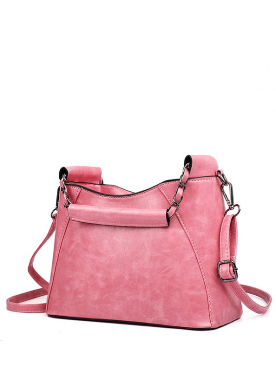 online PU Leather Chains Solid Color Tote Bag - PINK