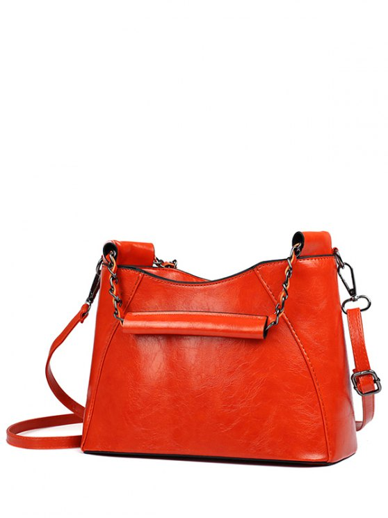 new PU Leather Chains Solid Color Tote Bag - RED