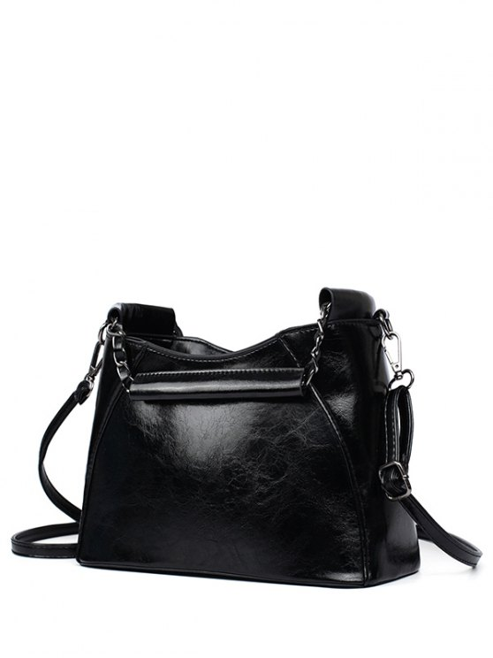 hot PU Leather Chains Solid Color Tote Bag - BLACK