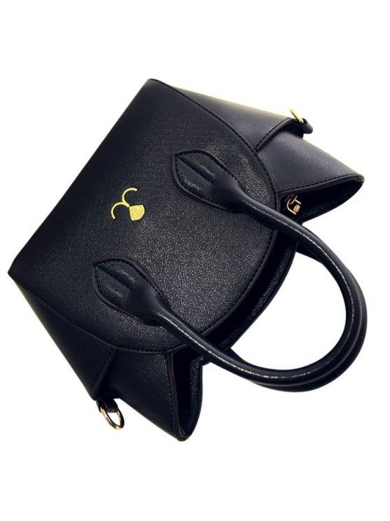 Cat Shape Solid Color Tote Bag - BLACK  Mobile