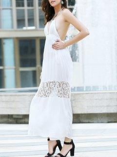 Open Back Halter Lace Panel Maxi Dress - White L
