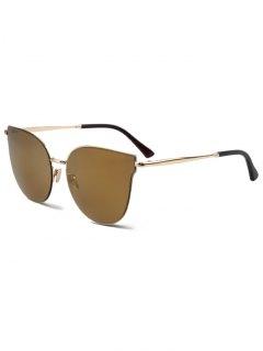 Street Fashion Golden-Rim Cat Eye Sunglasses - Light Coffee