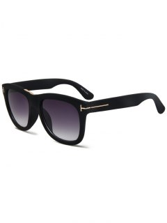 Letter T Matte Black Square Sunglasses - Black