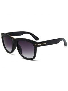 Letter T Bright Black Square Sunglasses - Black