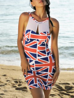 Union Flag Sleeveless Mesh Panel Dress - Red And White And Blue S